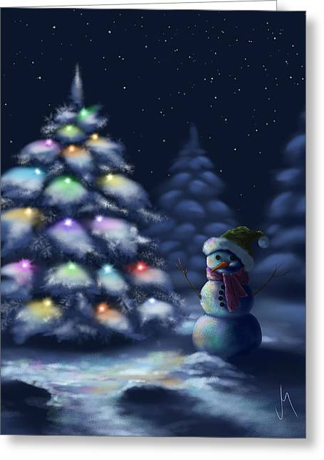 Snowman Christmas Card Greeting Cards - Silent night Greeting Card by Veronica Minozzi