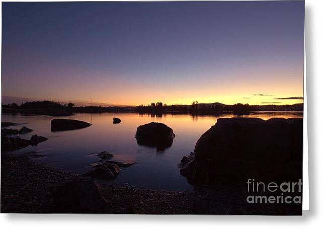 Norwegian Sunset Greeting Cards - Silent november evening Greeting Card by Gunn Samuelsen
