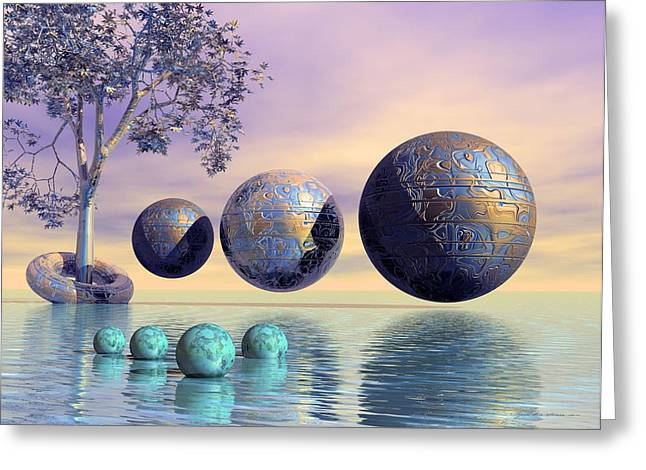 Geometric Digital Art Greeting Cards - Silent seven - Surrealism Greeting Card by Sipo Liimatainen