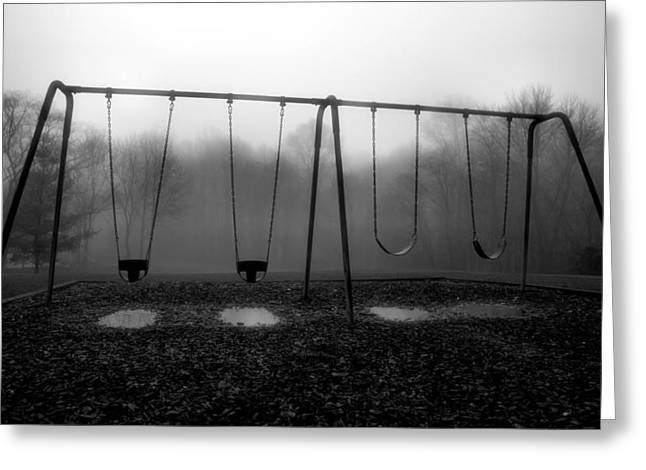 Swingset Greeting Cards - Silent Swings Greeting Card by Steven Ainsworth