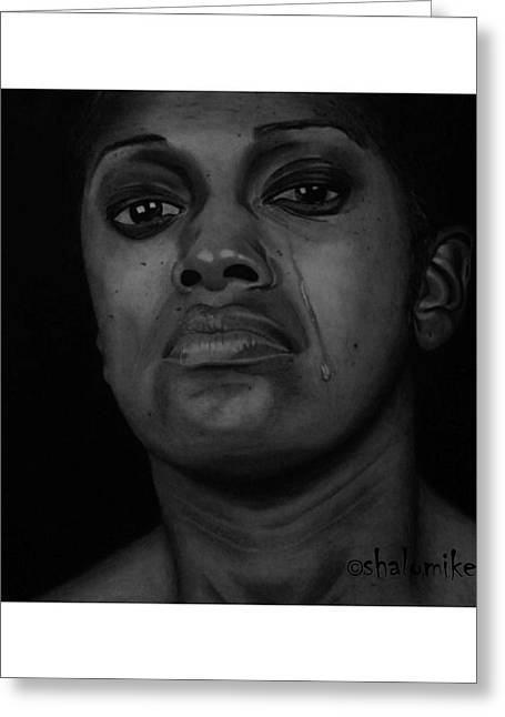 Shed Drawings Greeting Cards - Silent Tears Greeting Card by Barnabas Adeleke