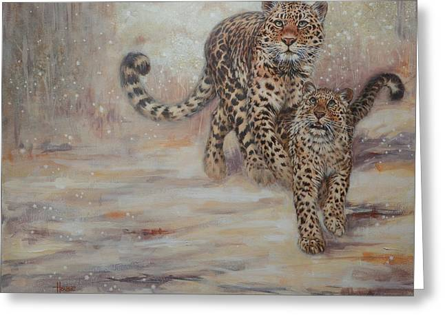 Leopard Hunting Greeting Cards - Silent Through the Clearing Greeting Card by Cynthia House