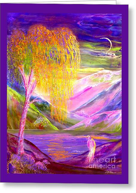 Silent Waters, Silver Birch And Egret Greeting Card by Jane Small