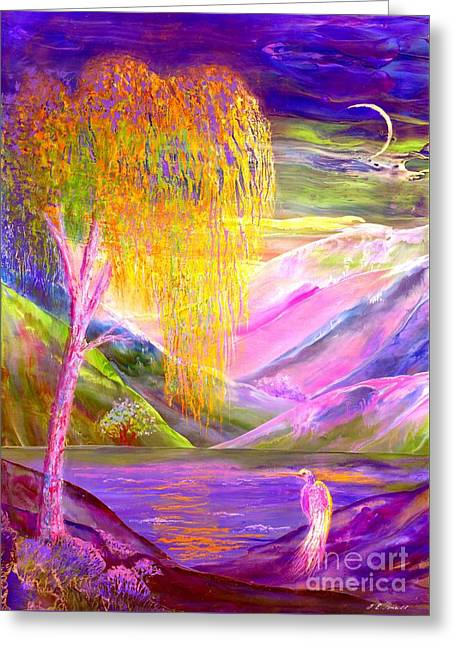Moonlit Night Greeting Cards - Silent Waters Greeting Card by Jane Small