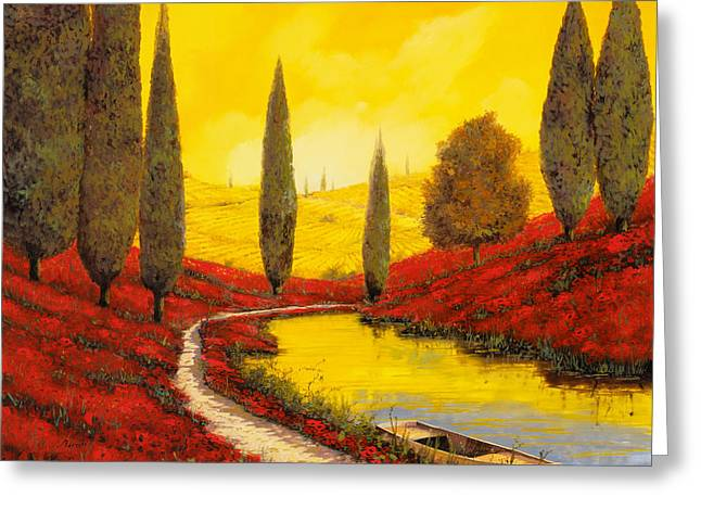 River Boat Greeting Cards - Silenzio Tra I Cipressi Greeting Card by Guido Borelli