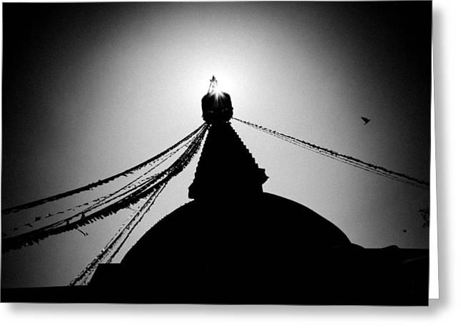 Tibetan Buddhism Greeting Cards - Silhouette Boudhanath Giant Buddhist Stupa In Kathmandu Himalaya Nepal  Greeting Card by Raimond Klavins