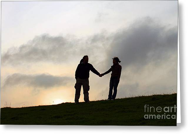 Silhouettes Greeting Cards - Silhouette Couple holdings hands Greeting Card by Lars Ruecker