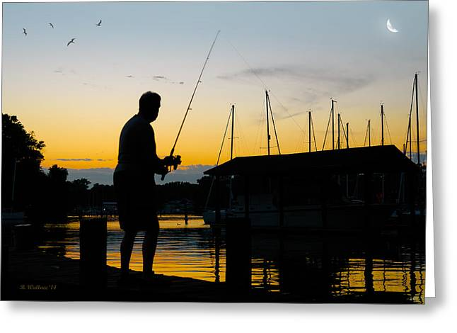 White Digital Greeting Cards - Silhouette Fisherman Greeting Card by Brian Wallace