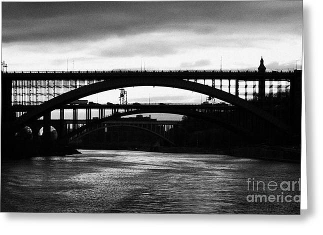 Manhatan Greeting Cards - Silhouette In Evening Light Of Washington Heights Bridge Alexander Hamilton Bridge High Bridge Nyc Greeting Card by Joe Fox
