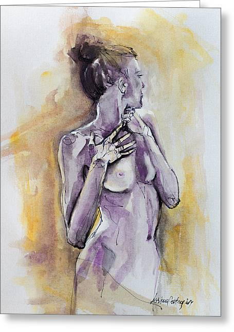 Woman Gift Greeting Cards - Silhouette In Purple Greeting Card by Dorina  Costras