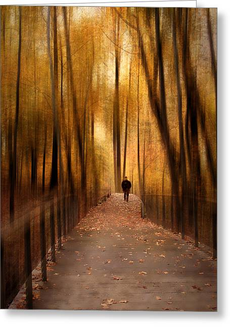 Woods Digital Art Greeting Cards - Silhouette in Solitude Greeting Card by Jessica Jenney