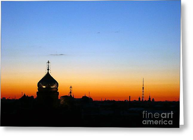 Silhouettes Greeting Cards - Silhouette in St. Petersburg Greeting Card by Lars Ruecker