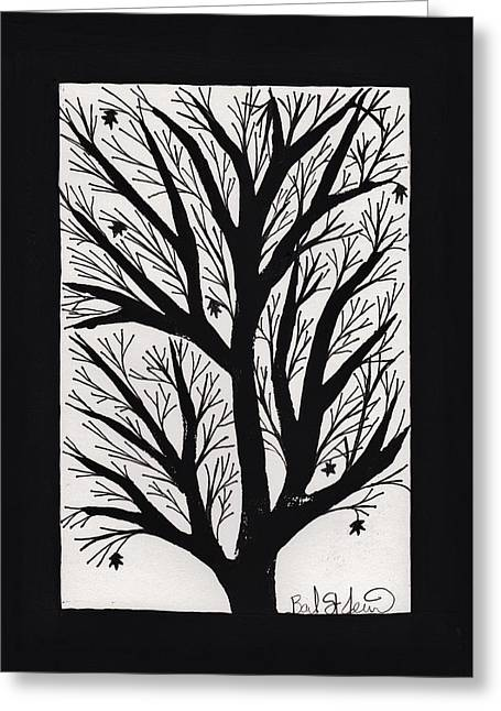 Lino Cut Drawings Greeting Cards - Silhouette Maple Greeting Card by Barbara St Jean