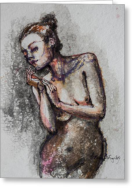 Silhouette Art Greeting Cards - Silhouette - Nude 1 Greeting Card by Dorina  Costras