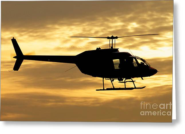 Italian Sunset Greeting Cards - Silhouette Of A Bell 206 Utility Greeting Card by Luca Nicolotti