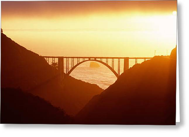 Bixby Bridge Greeting Cards - Silhouette Of A Bridge At Sunset, Bixby Greeting Card by Panoramic Images