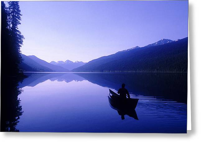 Canoe Greeting Cards - Silhouette Of A Canoeist At Sunrise Greeting Card by Josh McCulloch