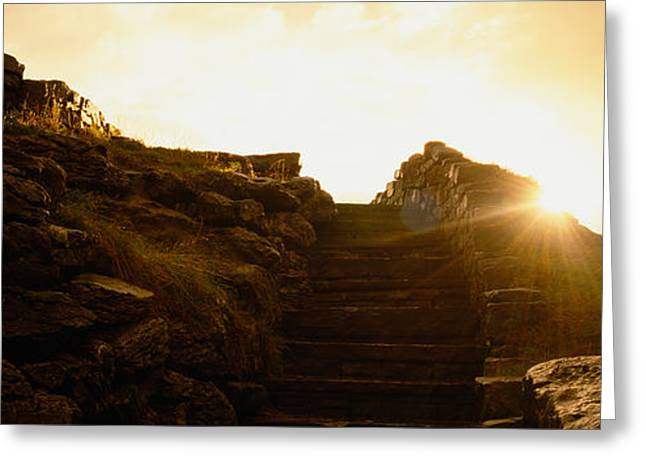Clare Greeting Cards - Silhouette Of A Cave At Sunset, Ailwee Greeting Card by Panoramic Images