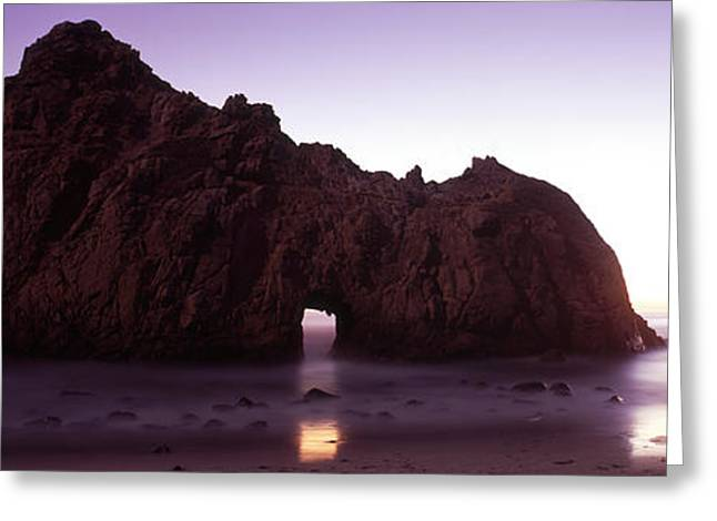 California Beach Greeting Cards - Silhouette Of A Cliff On The Beach Greeting Card by Panoramic Images