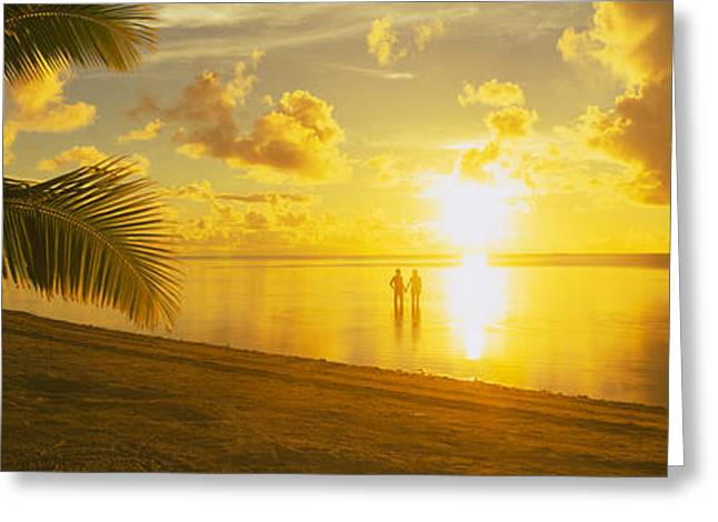 Panoramic Ocean Greeting Cards - Silhouette Of A Couple Standing On The Greeting Card by Panoramic Images