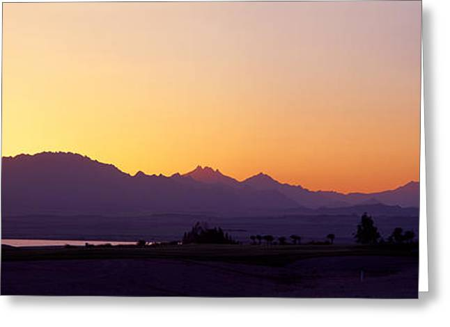 Silhouette Of A Golf Course With Sinai Greeting Card by Panoramic Images