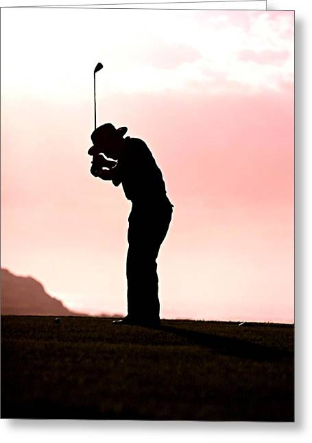 Landscape Greeting Cards - Silhouette of a golfer Greeting Card by Lanjee Chee