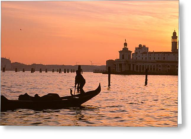 Italian Sunset Greeting Cards - Silhouette Of A Gondola In A Canal Greeting Card by Panoramic Images