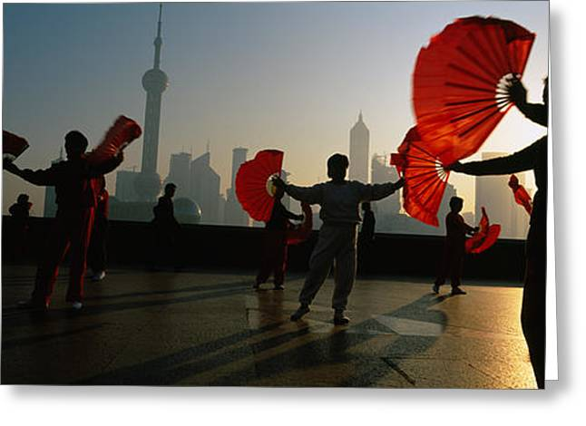 Healthy-lifestyle Greeting Cards - Silhouette Of A Group Of People Dancing Greeting Card by Panoramic Images