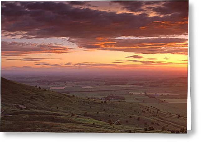 Toppings Greeting Cards - Silhouette Of A Hill At Sunset Greeting Card by Panoramic Images