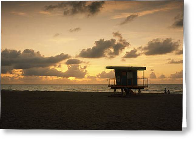 Romantic Photography Greeting Cards - Silhouette Of A Lifeguard Hut Greeting Card by Panoramic Images