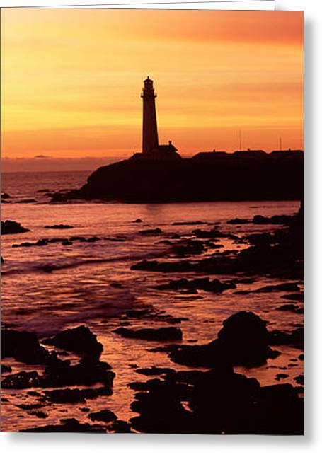 Pigeon Point Lighthouse Greeting Cards - Silhouette Of A Lighthouse At Sunset Greeting Card by Panoramic Images