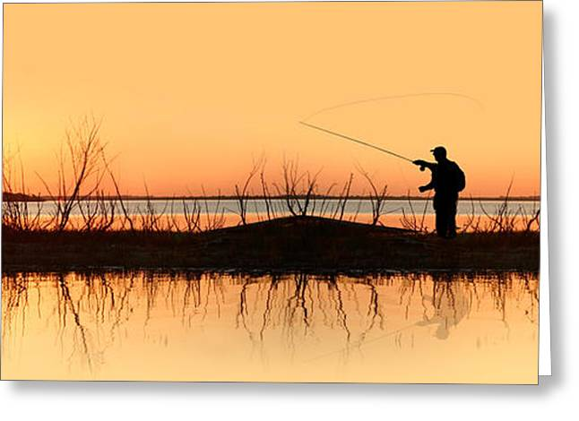 Concept Photographs Greeting Cards - Silhouette Of A Man Fishing Greeting Card by Panoramic Images