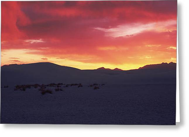 White Sands National Monument Greeting Cards - Silhouette Of A Mountain Range At Dusk Greeting Card by Panoramic Images