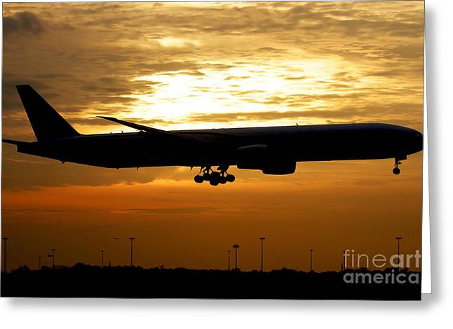 Commercial Airplane Greeting Cards - Silhouette Of A Pakistan International Greeting Card by Luca Nicolotti