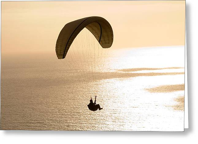 Extreme Sport Greeting Cards - Silhouette Of A Paraglider Flying Greeting Card by Panoramic Images