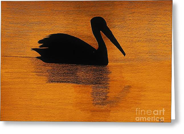 Surf Silhouette Drawings Greeting Cards - Silhouette of a Pelican Greeting Card by D Hackett