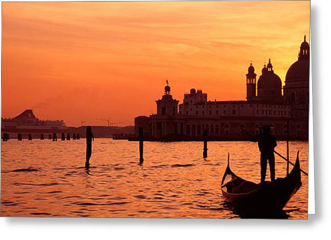Wooden Building Greeting Cards - Silhouette Of A Person On A Gondola Greeting Card by Panoramic Images