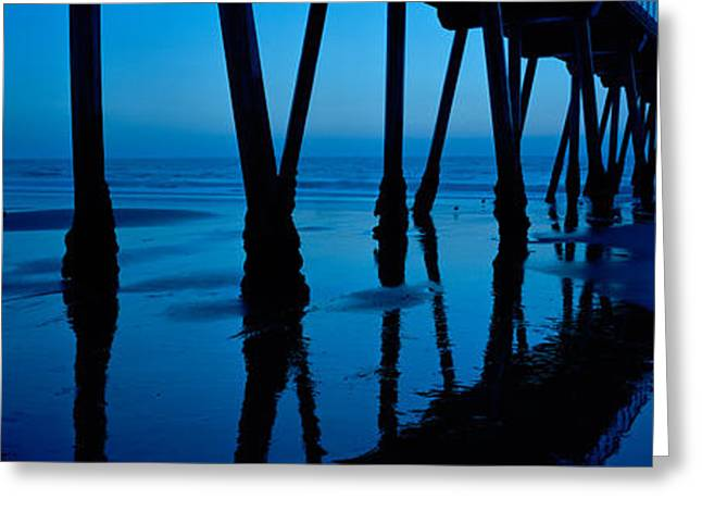 California Beach Greeting Cards - Silhouette Of A Pier, Hermosa Beach Greeting Card by Panoramic Images