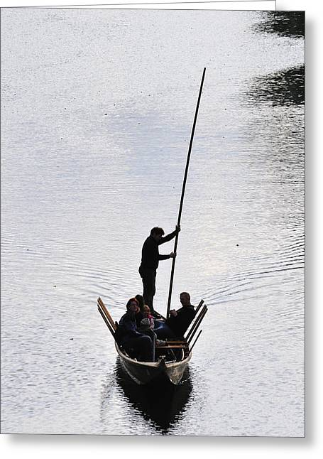 Gondolier Greeting Cards - Silhouette of a punt on the river Greeting Card by Matthias Hauser