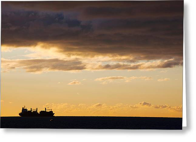 Languedoc Greeting Cards - Silhouette Of A Ship In The Sea Greeting Card by Panoramic Images