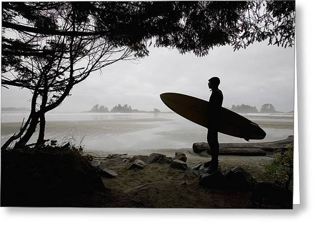 Surf Lifestyle Greeting Cards - Silhouette Of A Surfer Looking Out To Greeting Card by Deddeda