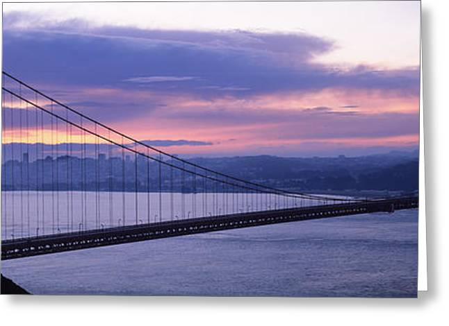 San Francisco Bay Greeting Cards - Silhouette Of A Suspension Bridge Greeting Card by Panoramic Images
