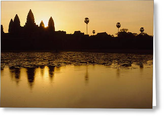 Southeast Asia Greeting Cards - Silhouette Of A Temple At Sunrise Greeting Card by Panoramic Images