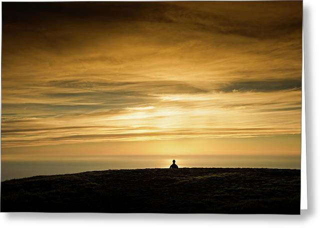 Silhouette Of A Woman Meditating On Top Greeting Card by Panoramic Images