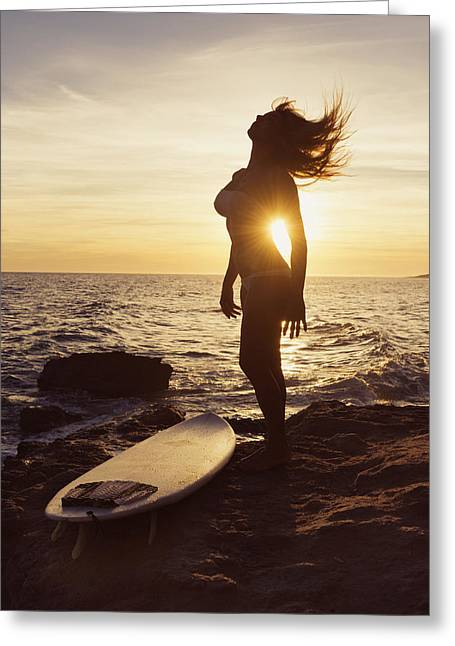 Surf Silhouette Greeting Cards - Silhouette Of A Woman Standing Greeting Card by Ben Welsh