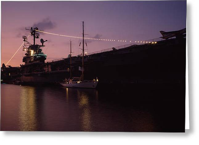 Water Vessels Greeting Cards - Silhouette Of An Aircraft Carrier Greeting Card by Panoramic Images
