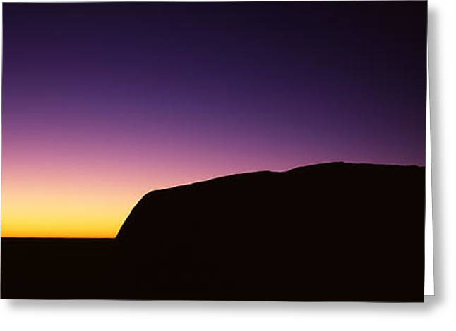 Ayers Rock Greeting Cards - Silhouette Of Ayers Rock Formations Greeting Card by Panoramic Images