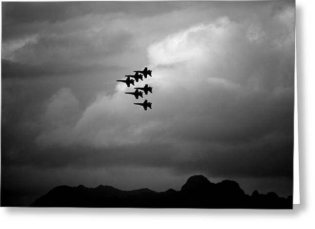 Airshow Flight Greeting Cards - Silhouette of Blue Angels in Formation Greeting Card by Saya Studios