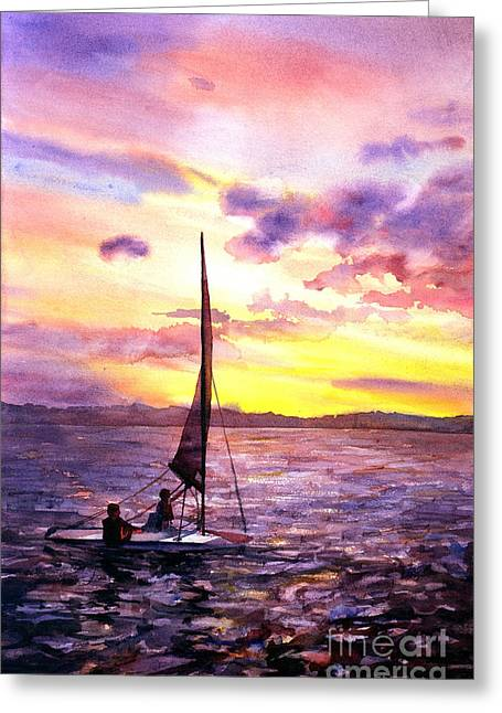 Silhouette Of Boat And Sailors On Torch Lake Michigan Usa Greeting Card by Ryan Fox