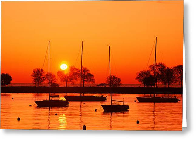 Masts Greeting Cards - Silhouette Of Boats In A Lake, Lake Greeting Card by Panoramic Images
